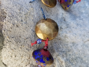 Rustic brass, red and blue earrings
