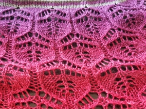 Lace shawl in sunset colors