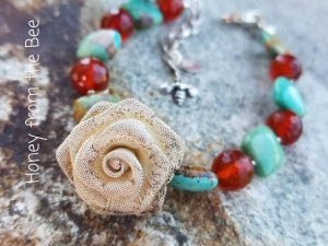 Carnelian and turquoise bracelet