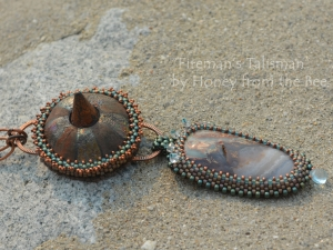 Boho Style copper and Blue Pendant