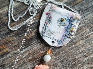 Coral, purple and white artisan necklace
