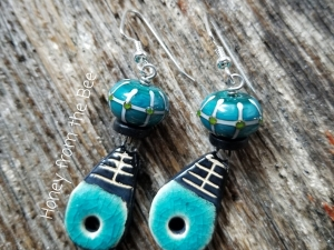 Teal and black earrings