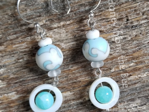 Blue and white Lampwork earrings