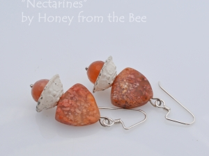 Rosy peach jasper and moonstone earrings
