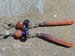Peach Moonstone, lampwork and Sea Urchin spine earrings