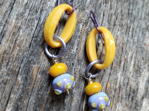 Yellow and lavender earrings