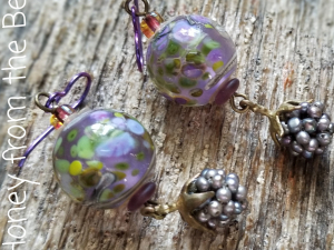 Lavender and green earrings