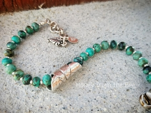 Silver leaf and turquoise bracelet