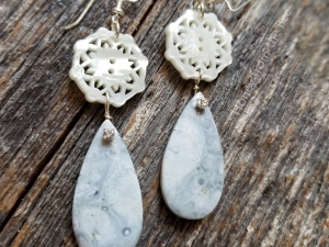 Mother of pearl and rhyolite
