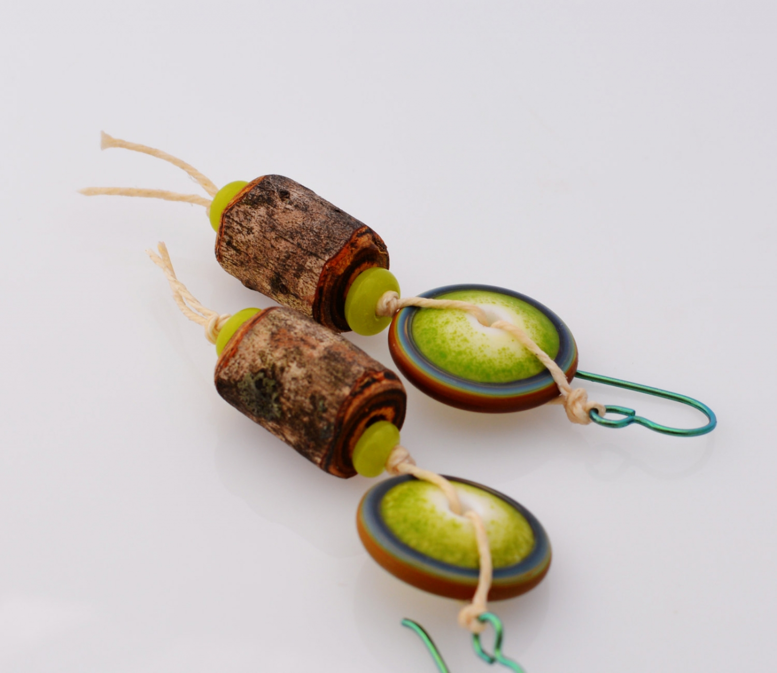 Woodland Earrings In Lime Green Unique Artisan Jewelry