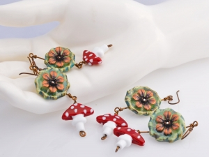 Polka Dot Mushroom and Flower Earrings