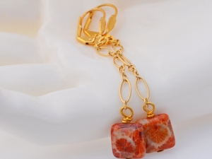 Red Fossilized Coral Earrings