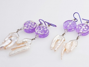 Lavender Snowflake Winter Earrings