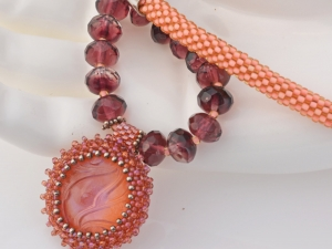 Peach and Purple Bead Embroidered Necklace