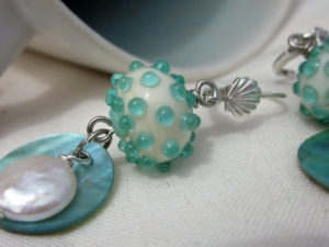 White Coin Pearl and Aqua Earrings