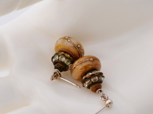 Edwardian Inspired Cream lampwork Earrings