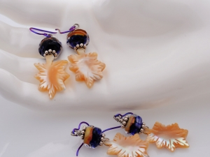 Deep Purple and Cream Earrings