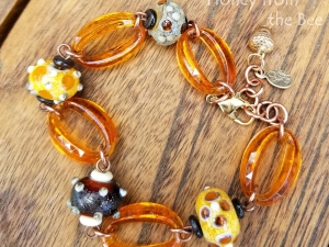 Amber and Tortoise beaded Bracelet