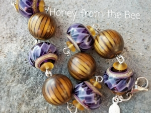 Purple Ribbon Lampwork bracelet