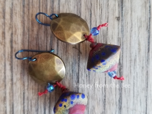 Brass and Raku Earrings