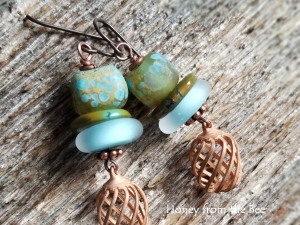 Best Catch - Lampwork and Turquoise earrings