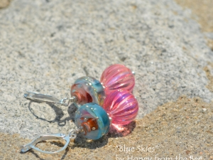 Sky Blue and Pink Lampwork earrings