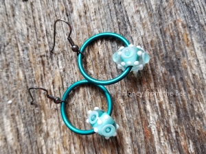 Bubbly Sea - Teal hoop earrings