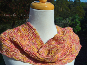 California Spring Cowl in pink and yellow
