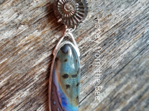 Bronze and Blue Pendant - Catch a Wave
