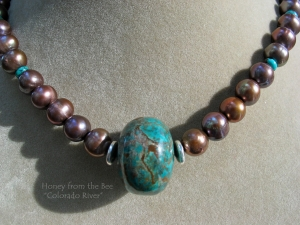 Turquoise and brown pearl necklace