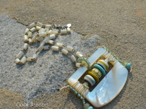 Cream and Teal Necklace