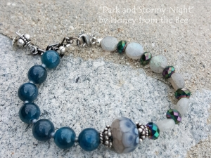 Dark Teal Apatite and Labradorite bracelet
