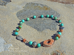 Boho Rustic Turquoise  and Copper Necklace