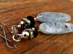 Crystal and Kyanite Drop Earrings