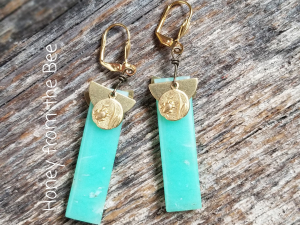 Gold and Celadon Earrings