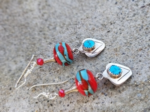 Red and Turquoise artisan earrings