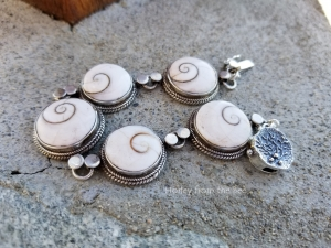 Shiva Shell and Sterling Silver bracelet