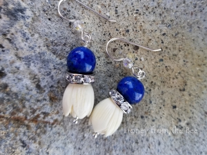 Lapis Blue and White Flower earrings