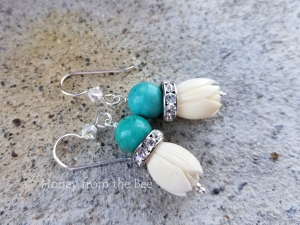 Turquoise and White boho earrings