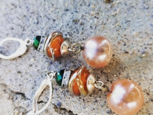 Peach and Green earrings with sparkle