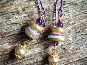 Golden Opportunity - lampwork and amethyst earrings