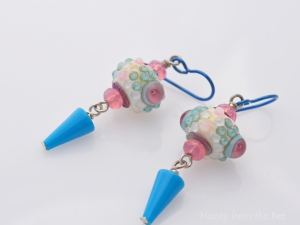 Pink and Blue Lampwork earrings
