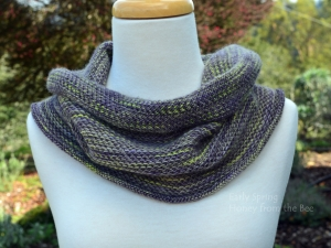 Lilac Grey and Chartreuse Knitted Cowl