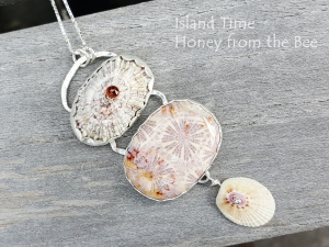 Shell and Fossilized Coral Agate pendant