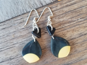 Cream and Black earrings