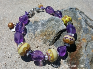 Khaki and Amethyst Bracelet