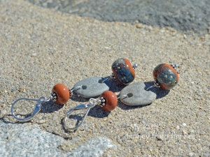 Terra Cotta  Raku Lampwork and Beach Stone Earrings