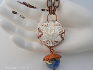 Cream, Blue and Copper Nature Inspired necklace
