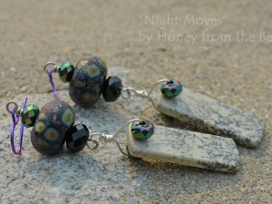 Artisan Lampwork and Sapling Jasper Earrings with crystals