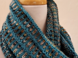 Teal, Cream and Brown handknit cowl